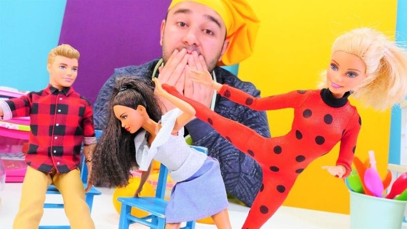 Kafe oyunu. Kadirin kafesinde Barbie kahraman olmak istiyor! Ladybug kostümü!
