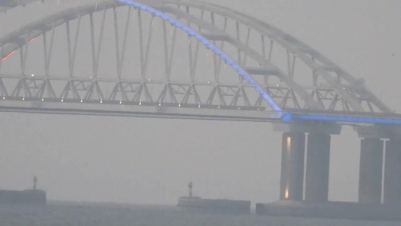 Керченский мост на рассвете Подсветка горит Змеинка Молодежка