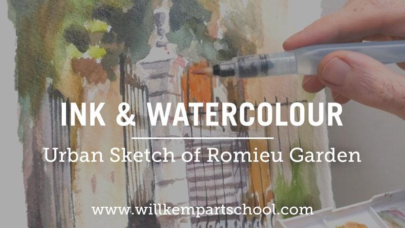 Urban Sketch for Beginner's Ink Watercolour Garden Sketch