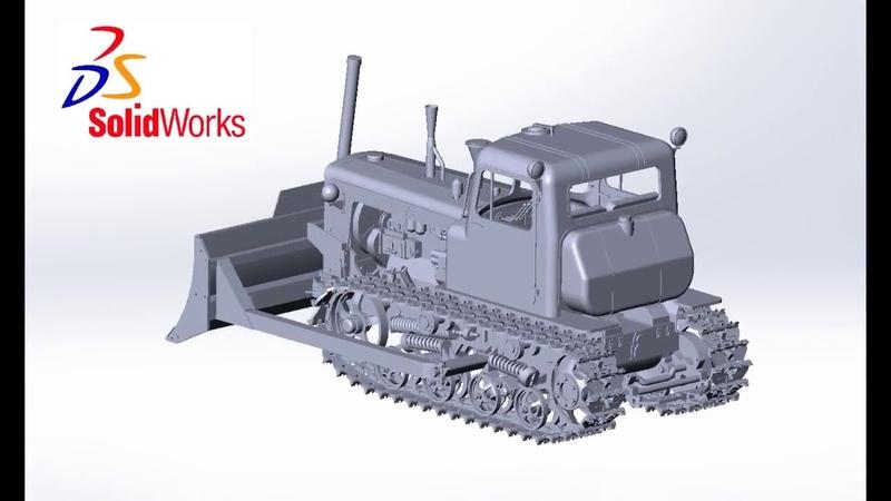 Сборка бумажной модели трактора ДТ 75 с бульдозерным оборудованием ДЗ 42Г в масштабе 1 25