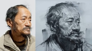 Learn to Draw Old Man Portrait in Charcoal #02