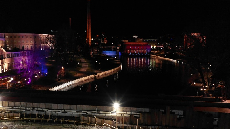 Tammerkoski in a Nightlights Tampere Finland Drone 4K