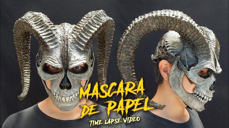 Calavera Cornuda Máscara hecha con Papel ¿Cómo Se Hace Time Lapse Video
