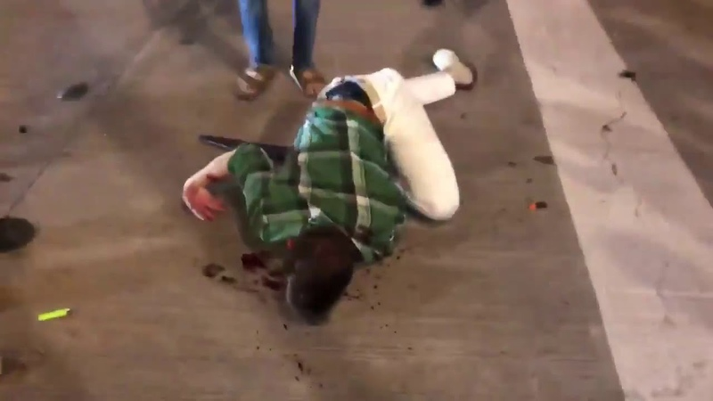 Rioters appear to have brutally beaten a man defending his shop with a sword from looters in Dallas
