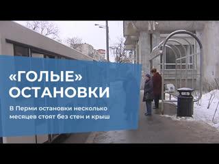В Перми остановки несколько месяцев стоят без стен и крыш