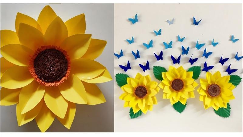 Giant Paper Sunflower DIY   Paper Sunflower Wall hanging   Room Decor ideas