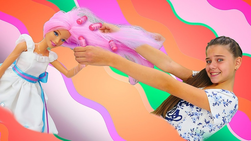 Барби собирается на день принцесс ! Видео для девочек - Салон красоты для кукол