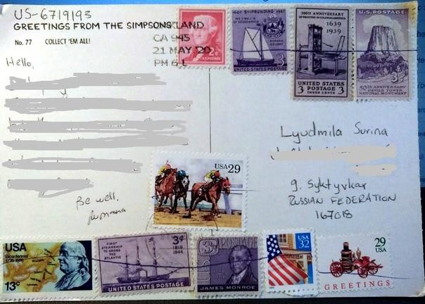 сколько марок на открытку в америку вишня может принести