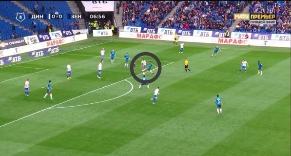 Оздоев моментально накрывает динамовца, мяч переходит к Зениту. Если бы пас прошел за спину Дриусси, то Барриос накрывает игрока Динамо.