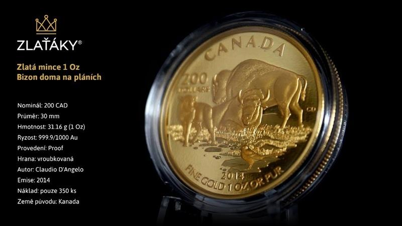 Zlatá mince Bizon doma na pláních 1 Oz 2014 Proof