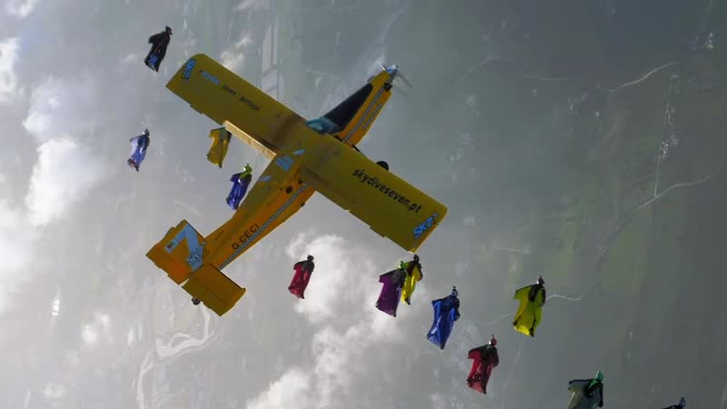 World Record- Largest AWF Airplane Wingsuit Formation
