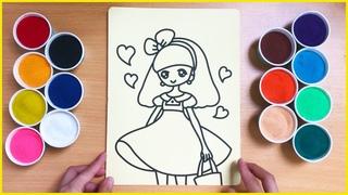 Tô màu tranh cát tiểu thư váy hồng dễ thương - Sand painting princess wears a pink dress