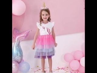 Dxton/детское платье для девочек, летний сарафан с единорогом, детские платья для девочек, костюмы принцессы с героями