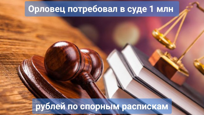 Орловец потребовал в суде 1 млн рублей по спорным распискам