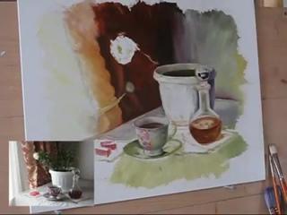 Как рисовать маслом стеклянный графин, oil painting  Мила Наумова
