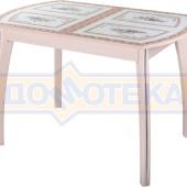Стол обеденный  Танго ПО-1 МД ст-72 07 ВП МД, молочный дуб, растительный орнамент