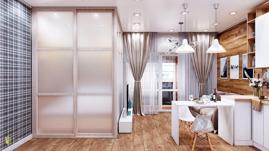 Проект квартиры 33 м (38 м с лоджией).