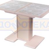 Стол кухонный Каппа ПР ВП МД 05 МД/КР пл 32, молочный дуб, плитка с цветами