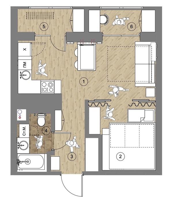 Интерьер квартиры 37 кв.