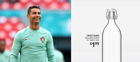 IKEA представила бутылку для воды Cristiano после истории с Роналду и Coca-Cola