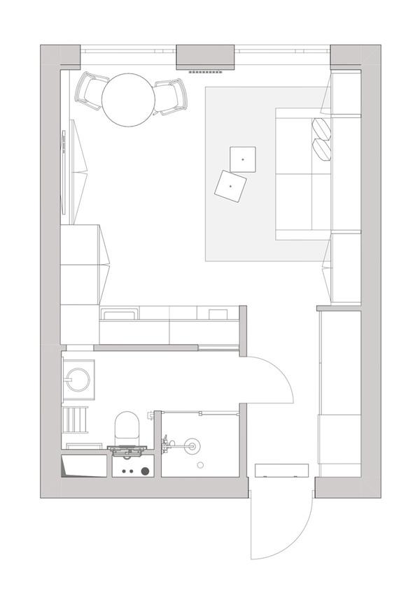 Функциональный интерьер квартиры-студии 27 кв.