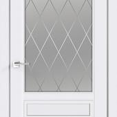 Дверное полотно SCANDI 2V  Эмаль  остекленное  (замок Morelli 1870Р SN, без присадки под петли, отве