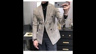 Мужские смокинги, новое поступление 2020, клетчатый повседневный двубортный приталенный пиджак, мужской костюм (только пиджак)