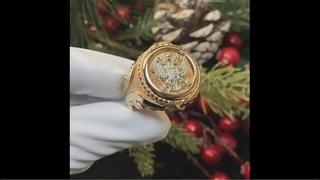 Золотое мужское кольцо-печатка на заказ из золота 585 пробы с гербом России