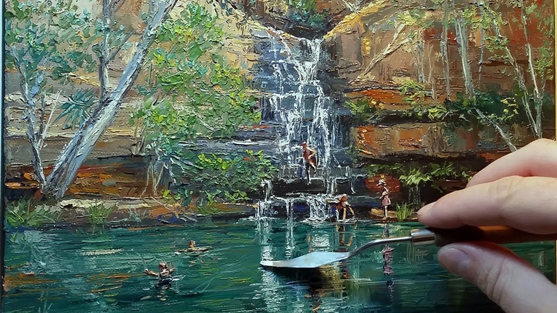 Swimming Hole Gorge How to Oil Painting Palette Knife Brush Galvans Kimberley WA Dusan