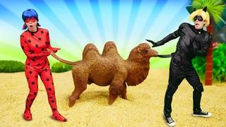 Леди Баг и Супер Кот - приключения игрушек в пустыне. Видео для девочек про кукол Барби и Леди Баг