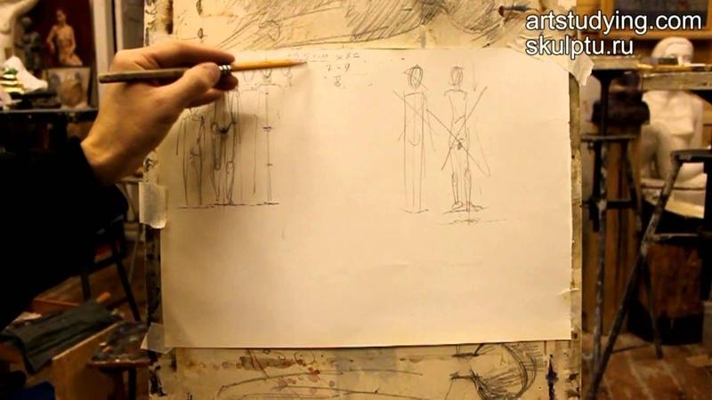 Обучение рисунку Фигура 2 серия пропорции фигуры кратко