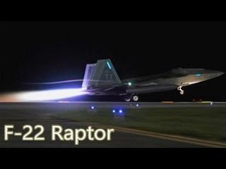 Ночной взлёт стелс истребителей F-22 Raptor