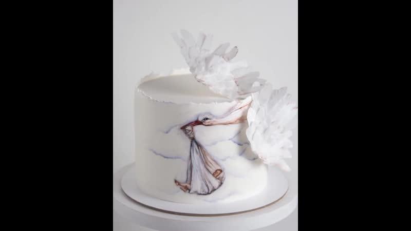 Тортик вне времени😍 Роспись тортика на выписку ✨