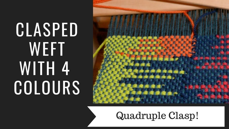 Clasped weft with 4 colours
